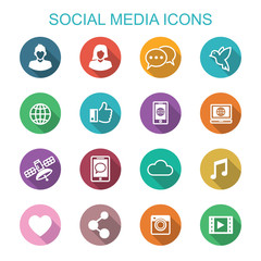 social media long shadow icons