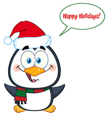 Penguin Cartoon Character With Open Wings And Speech Bubble And Text