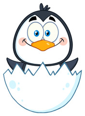 Baby Penguin Cartoon Character Hatching From An Egg