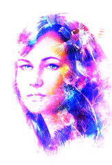 Young woman portrait, and blue eye , with bird, color painting and spots structure, Abstract background.