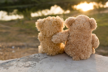 Teddies watching the sunset