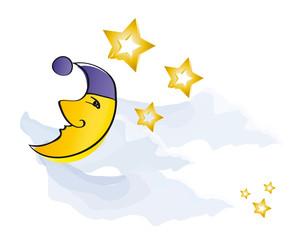 Mond - Hlbmond mit Goldenen Sternen am klaren Nachthimmel
