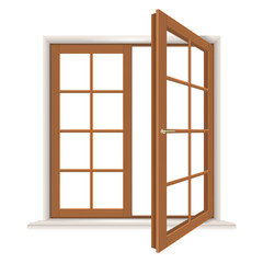 Open wooden window isolated, detailed vector illustration
