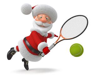 3d Santa Claus plays tennis