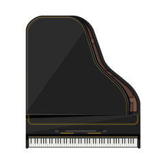 vector flat style grand piano illustration .
