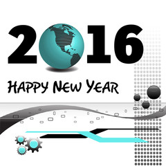 Abstract colorful background with various decorations, the text Happy New Year 2016 written in black and a blue earth globe standing instead of number zero