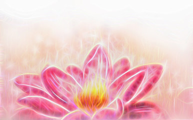 Lotus flower and white circle bokeh and white mist. Illustration collage fractal effect