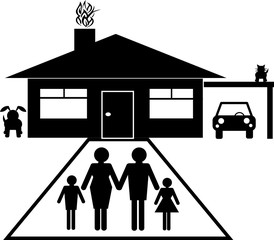 Family group with house, car and pets in silhouette