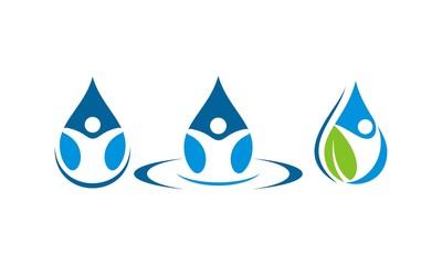 water droplets people  logo symbols, logo, icon, vector