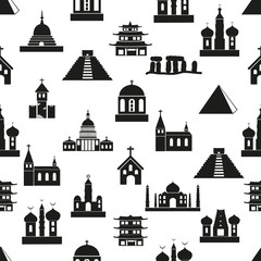 world religions types of temples icons seamless pattern eps10