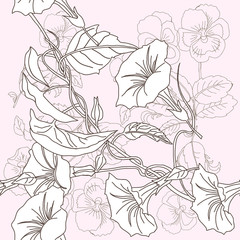 Seamless pattern with pansies and bindweed