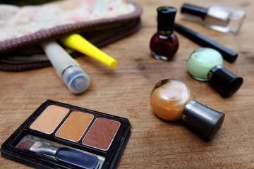 Make up bag and cosmetics