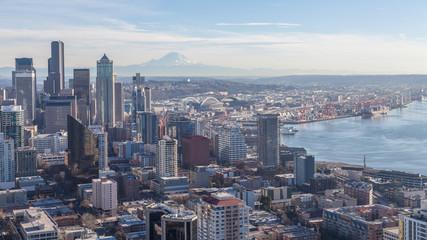 Cityscape: the urban landscape, downtown Seattle and Mount Rainier, Washington State, USA