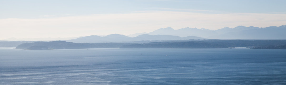 Waterview, looking across the Puget  Sound from the city of Seattle, Washington, USA
