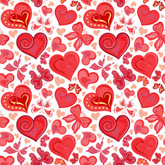 Seamless valentine pattern with colorful vintage pink butterflies, flowers and hearts. Vector illustration