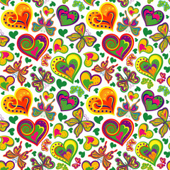 Seamless valentine pattern with vintage colorful butterflies, flowers, hearts on white background. Vector illustration