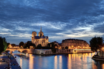 Notre-Dame at the blue hour in Paris