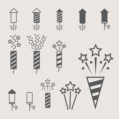 firework pyrotechnic  icon set. Vector illustration
