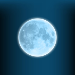 glowing blue moon on a dark blue background
