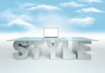 Open laptop on empty glass table with a base made of concrete STYLE against the sky background. Business concept