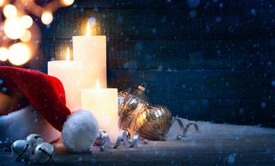 art Christmas tree light; festive background with Christmas ball
