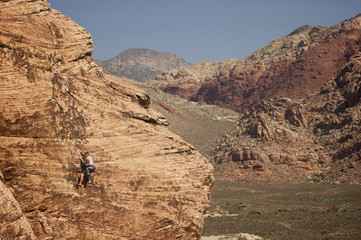 Rock climbing in the Red Rock National Conservation Area, located minutes outside of Las Vegas and the famed Las Vegas Strip.