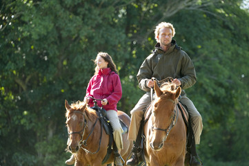 Garry Turner and Anna Carradice-French horseback ride in Cooper City, Florida.
