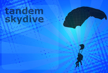 skydiving tandem silhouette on the abstract background - vector