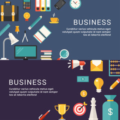 Business Concept. Vector Illustrations and Icons in Flat Design Style for Web Banners or Promotional Materials