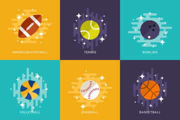 Set of Sport Balls. Flat Style Vector Illustration. American Football, Basketball, Volleyball, Tennis, Bowling, Baseball. Activities for Team Playing