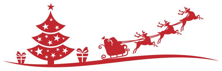 Wall Mural - Weihnachten Silhouette rot mit Weihnachtsmann Schlitten Weihnachtsbaum und Geschenken Vektor