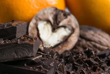 nuts heart with chocolate and citrus