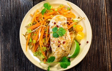 Roasted chicken breast with vegetable, coriander and lime