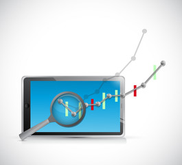 business graph review on tablet. illustration