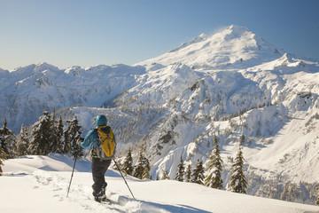 Snowshoeing below Mount Baker.