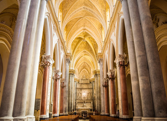 Interior of the Erice Cathedral, Sicily, Italy. One of the main attractions of Erice. Wall mural