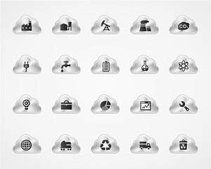 Set of industrial icons on metallic clouds
