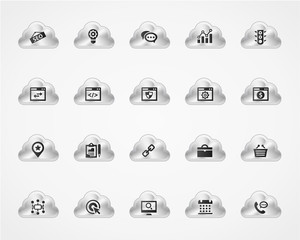 Set of SEO 1 icons on metallic clouds