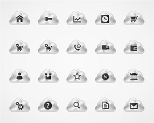 Set of web and commercial icons on metallic clouds