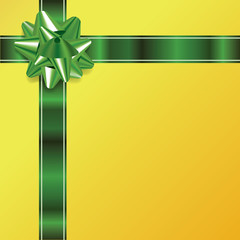 Gold Christmas Background with Green Bow and Ribbon