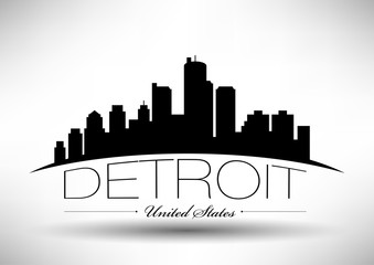 Vector Detroit Skyline Design with Typography