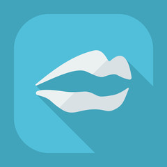 Flat modern design with shadow icons lips