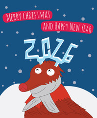 New Year and Merry Christmas card illustration. Reindeer is looking on his horns.