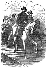An engraved vintage illustration image of a General Ulysses Grant marching on Richmond during the American Civil War, from a Victorian book dated 1880 that is no longer in copyright
