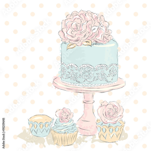 Wedding Cake Vector Watercolor Wedding Card Vintage Stock