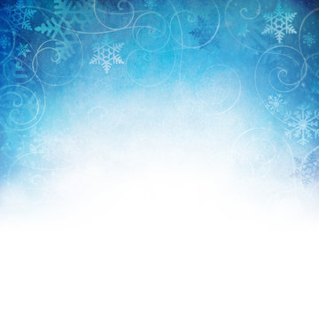 Winter Snowflake Background with room for copy space, vignette's to white at the bottom.