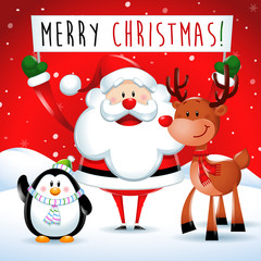 Merry Christmas, Santa Claus and friends in red background