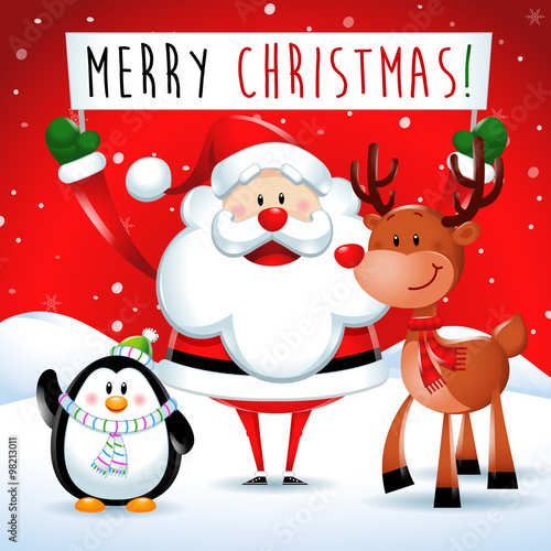 Merry Christmas Santa Claus And Friends In Red Background