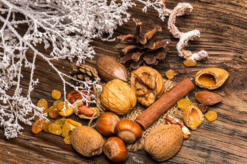 Nuts and other Dried fruits on natural wood