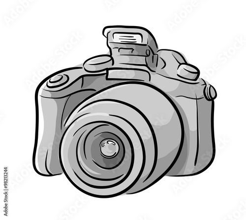 DSLR Camera, a hand drawn vector illustration of a DSLR